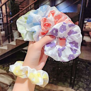 Homemade small floral hair circle French girl retro large intestine hair circle floral fabric hair rope head rope hair accessories wholesale nihaojewelry NHNA223597's discount tags