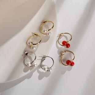 Pendientes de perlas cortas 925 estrella de plata retro pendientes de novia salvajes temperamento de moda coreana joyería de oreja al por mayor nihaojewelry NHWF223620's discount tags