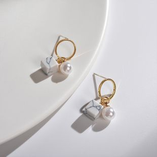Hermosos pendientes de perlas de mármol 925 plata delicados pequeños pendientes redondos geométricos dulces súper hadas pendientes salvajes al por mayor nihaojewelry NHWF223633's discount tags