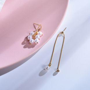 Pendientes de perlas asimétricas 925 plata dulce corazón de niña pendientes redondos irregulares pendientes de borla de cadena larga al por mayor nihaojewelry NHWF223640's discount tags