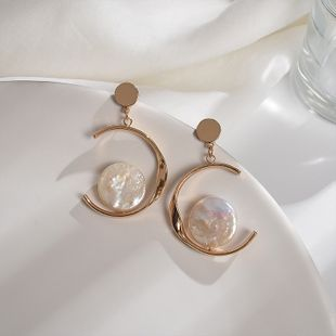 C-shaped mother-of-pearl earrings personality creative irregular earrings Korean fashion temperament wild twisted semicircular earrings wholesale nihaojewelry NHWF223643's discount tags