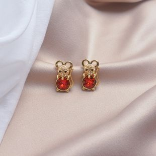 s925 silver earrings red diamond small mouse earrings personality fashion creative trend earrings new wholesale nihaojewelry NHWF223644's discount tags