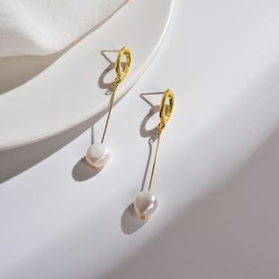 Pearl long earrings 925 silver Japanese and Korean fashion temperament geometric round earrings women were thin and simple wild earrings wholesale nihaojewelry NHWF223646's discount tags