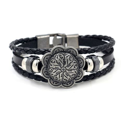 Men's bracelet Korean fashion alloy buckle leather tide jewelry Japanese and Korean students personality simple wholesale nihaojewelry NHHM223674's discount tags