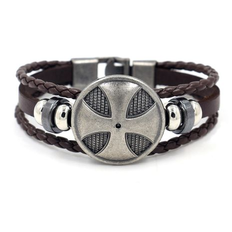 new accessories game cross shield leather bracelet hand-woven bracelet jewelry customization wholesale nihaojewelry NHHM223675's discount tags
