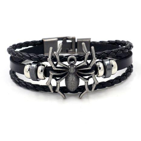 fashion men's bracelet retro alloy spider rivet braided leather bracelet wholesale nihaojewelry NHHM223676's discount tags