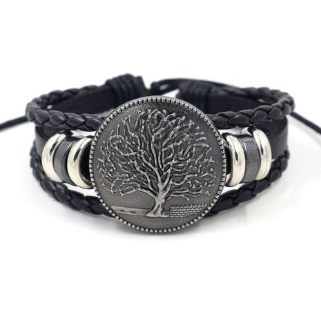 personalized adjustable   environmental protection tree of life logo multi-layer beaded leather bracelet unisex wholesale nihaojewelry NHHM223677's discount tags
