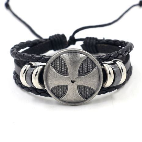 New leather accessories wholesale punk rock style woven round belt men's leather bracelet birthday gift wholesale nihaojewelry NHHM223678's discount tags
