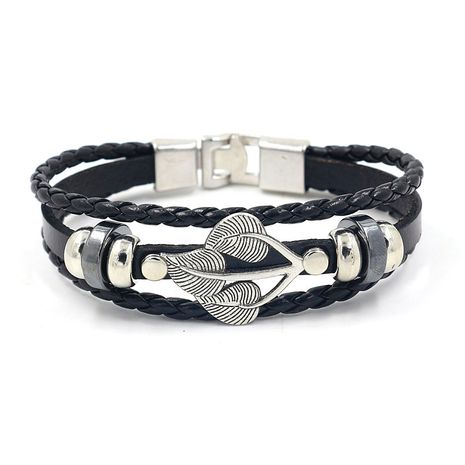 fashion retro alloy leaves multi-layer buckle leather bracelet leaf  fashion personality accessories wholesale nihaojewelry NHHM223679's discount tags