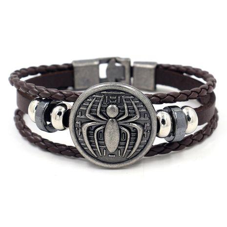 fashion men's bracelet retro alloy spider shield braided leather bracelet wholesale nihaojewelry NHHM223680's discount tags