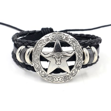 fashion Jewelry punk style leather bracelet circle five-pointed star bull head element retractable rope bracelet wholesale nihaojewelry NHHM223682's discount tags