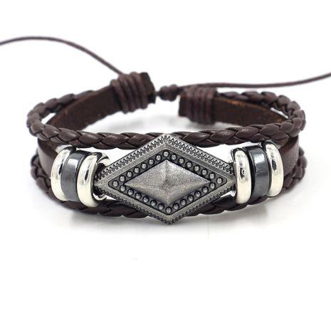 simple retro woven cowhide bracelet diy geometric diamond men's leather bracelet wholesale nihaojewelry NHHM223685's discount tags