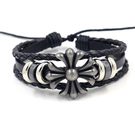 new Crowe cross leather bracelet men and women personality retro street clap bracelet wholesale nihaojewelry NHHM223690's discount tags