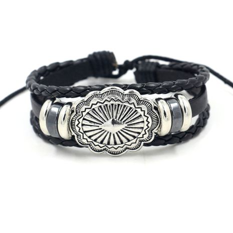 new jewelry ancient silver alloy decoration multi-layer beaded leather bracelet unisex pull-out bracelet wholesale nihaojewelry NHHM223691's discount tags