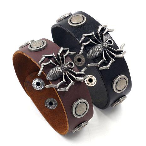 bijoux de mode punk araignée rivet large bracelet en cuir personnalité hommes snap bracelet en cuir en gros nihaojewelry NHHM223692's discount tags