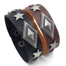 Mens jewelry hiphop jewelry new ins geometric diamond alloy rivet leather bracelet wholesale nihaojewelry NHHM223693