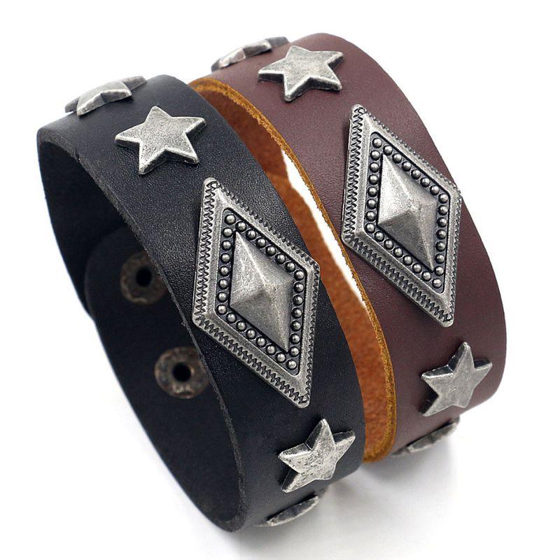 Men's jewelry hiphop jewelry new ins geometric diamond alloy rivet leather bracelet wholesale nihaojewelry NHHM223693