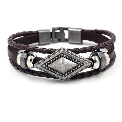 fashion jewelry men buckle woven cowhide bracelet geometric diamond leather bracelet wholesale nihaojewelry NHHM223695's discount tags