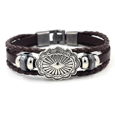 fashion men's leather bracelet simple multi-layer beaded alloy rivets buckle braided bracelet night market stall wholesale nihaojewelry NHHM223696's discount tags