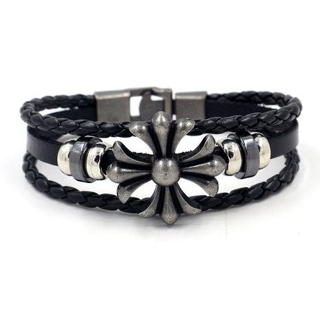 Korean fashion jewelry bracelet tide male personality gift wild leather bracelet punk simple cross bracelet wholesale nihaojewelry NHHM223698's discount tags