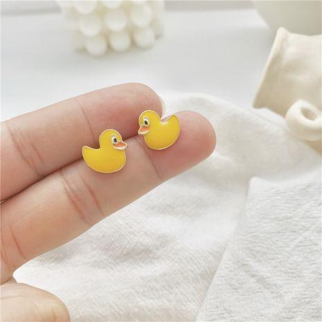 S925 mignon dessin animé enfantin boucles d'oreilles japonais mignon petit canard sexe à la mode sauvage délicat petites boucles d'oreilles en gros nihaojewelry NHXI223702's discount tags