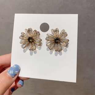 hot sale S925 silver needle handmade temperament crystal coffee color flower earrings hand made wholesale nihaojewelry NHXI223708's discount tags