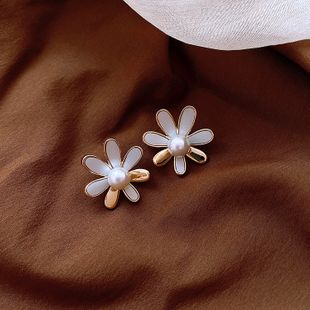 Korean new fashion 925 silver pin French high-grade earrings daisy petal pearl  earrings wholesale nihaojewelry NHXI223711's discount tags