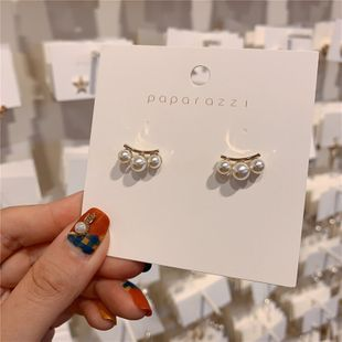 Corea del sur S925 aguja de plata simple elegante en forma de abanico rhinestone pequeños pendientes de perlas pendientes de temperamento salvaje niña al por mayor nihaojewelry NHXI223713's discount tags