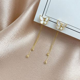 Korean fashion new retro forest butterfly silver needle earrings long chain tassels after hanging earrings wholesale nihaojewelry NHXI223715's discount tags