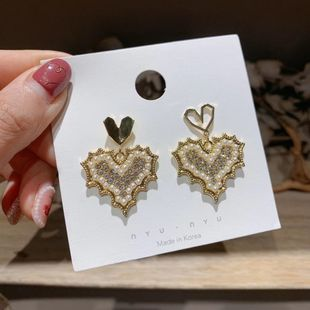 Korea Love Diamond S925 Silver Needle Temperament Heart-shaped Creative Earrings wholesale nihaojewelry NHXI223716's discount tags