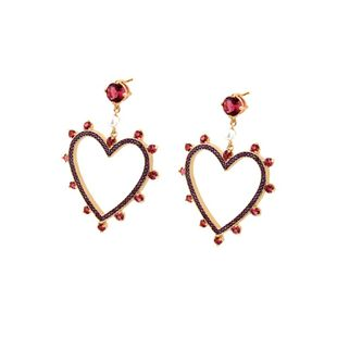 copper electroplated gold and diamond heart earrings simple color zircon love earring jewelry wholesale nihaojewelry NHBP223725's discount tags