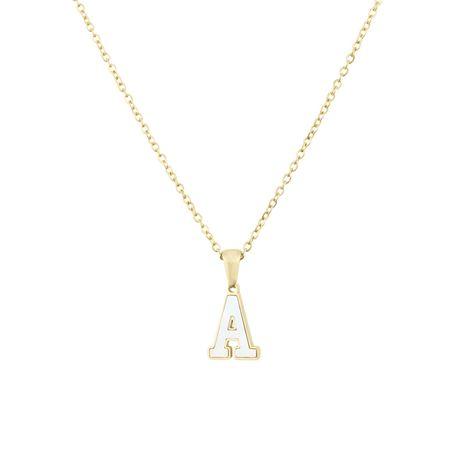 plate-forme nouvelle en acier inoxydable autocollants shell 26 lettre collier chaud or anglais titane acier pendentif en gros nihaojewelry NHBP223734's discount tags