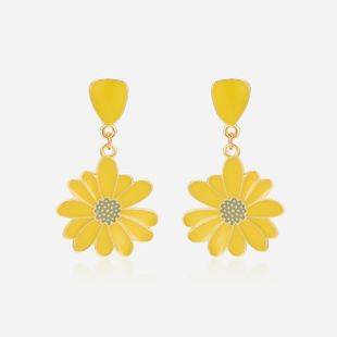 summer popular jewelry 925 silver needle alloy drop oil small daisy earrings wholesale nihaojewelry NHXS223757's discount tags