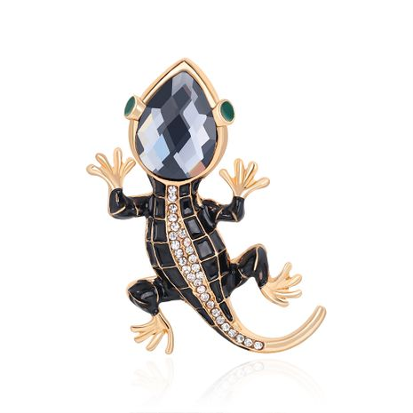 Nueva personalidad broche aleación diamante gota aceite lagarto gecko cuatro garras serpiente broche lugar al por mayor nihaojewelry NHDR223772's discount tags