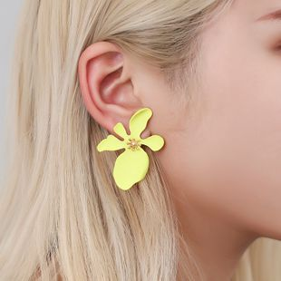 new exaggerated earrings sweet girl series irregular personality flower earrings color spray paint earrings wholesale nihaojewelry NHMO223834's discount tags