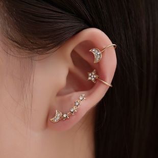 earless pierced earrings inlaid with diamonds stars and moon 3 sets of ear clips tide earrings earrings wholesale nihaojewelry NHMO223843's discount tags