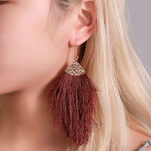 new temperament long section big feather earrings  autumn and winter accessories personality exaggerated tassel arrow earrings wholesale nihaojewelry NHMO223849's discount tags