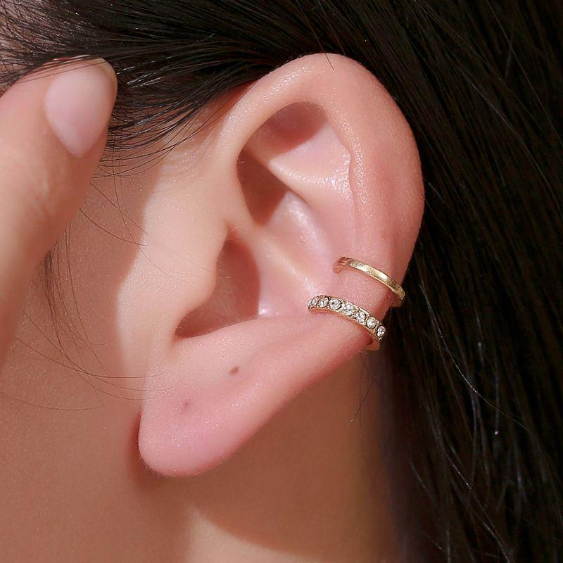 new ear clip line diamond ear clip fashion double c ear bone clip double u-shaped pierced ear clip wholesale nihaojewelry NHMO223852
