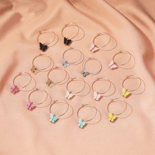 Nuevos pendientes simples pendientes de mariposa temperamento color acrílico mariposa pendientes venta al por mayor nihaojewelry NHMO223867's discount tags