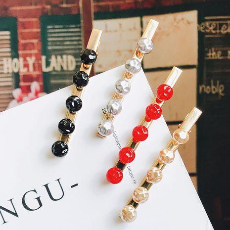 Korea new simple fashion pea imitation pearl hair clip side clip duckbill clip bangs clip wholesale nihaojewelry NHDQ223893's discount tags