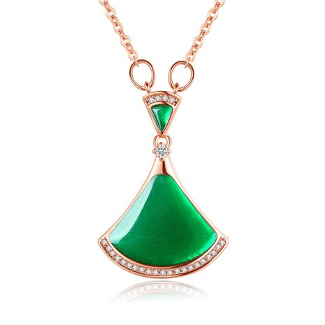 new simple fashion fan-shaped skirt green agate necklace 18K rose gold wholesale nihaojewelry NHKN223900's discount tags