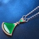 nouvelle mode simple jupe en forme dventail collier dagate verte 18K or rose gros nihaojewelry NHKN223900