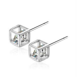 Moda coreana Love Rubik's Cube Diamond Stud Pendientes al por mayor nihaojewelry NHKN223911's discount tags