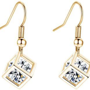 Moda coreana brillante oreja cuadrada joyería Rubik's cube zircon aretes al por mayor nihaojewelry NHKN223912's discount tags