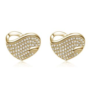 Korean fashion earrings hot sale micro inlaid peach heart full diamond earrings plating real gold hypoallergenic earrings wholesale nihaojewelry NHKN223915's discount tags