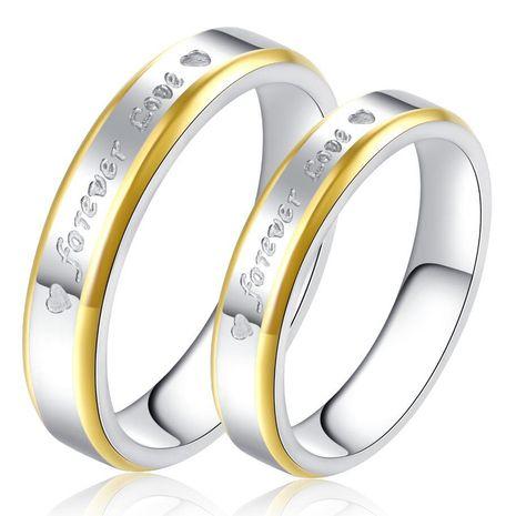 Phnom Penh oro para siempre amor titanio acero pareja anillo acero inoxidable R65 venta al por mayor nihaojewelry NHKN223920's discount tags