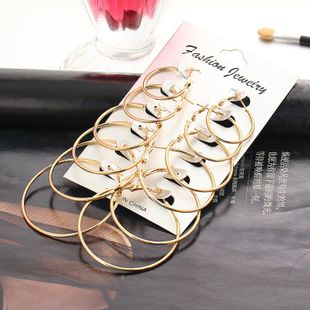 golden ear ring suit Korean female big earring simple exaggerated circle ring wholesale nihaojewelry NHYI223926's discount tags