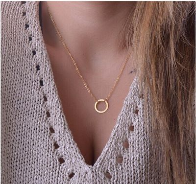 fashion temperament clavicle chain creative retro personality fashion simple circle necklace wholesale nihaojewelry NHYI223933's discount tags