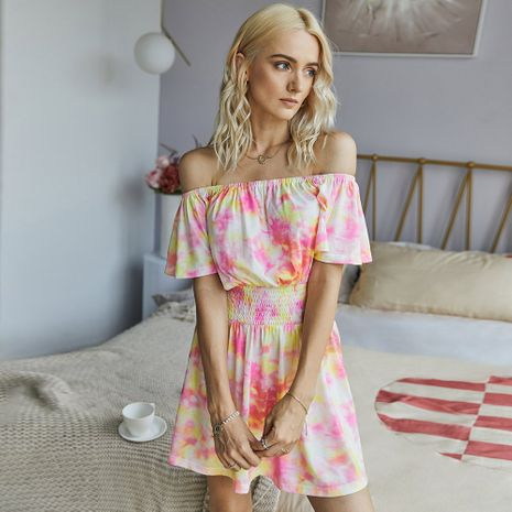 summer word shoulder dress fashion tie-dye dress wholesale nihaojewelry NHKA230323's discount tags