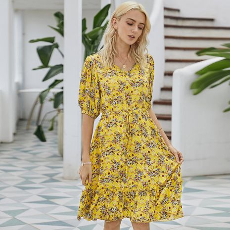 summer women's  new fashion yellow floral print dress wholesale nihaojewelry NHKA230324's discount tags